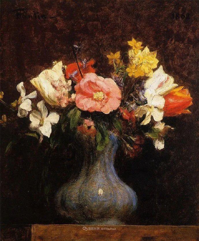 笔触细致,朴实写实,拉图尔花卉作品欣赏插图166