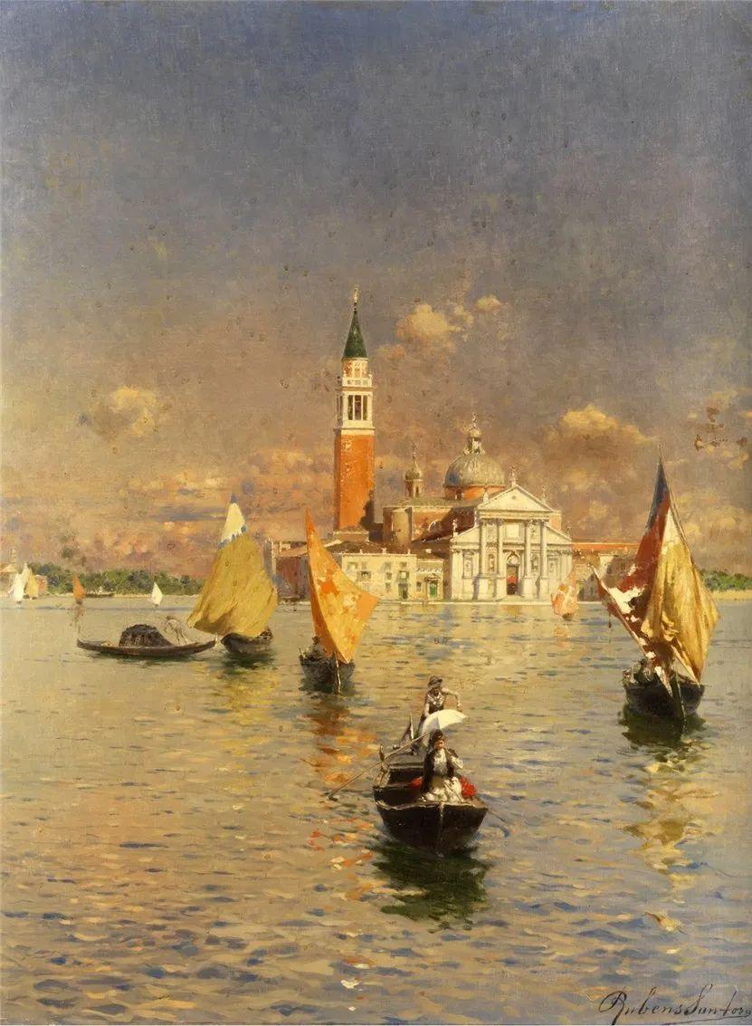 威尼斯风光,意大利画家鲁本斯·桑托罗插图1