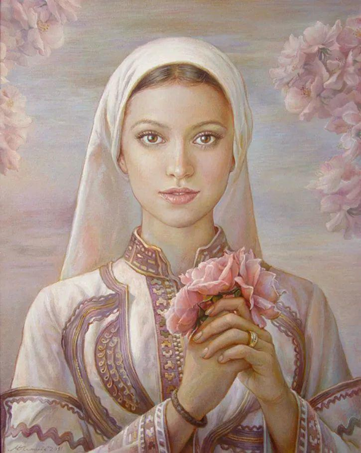美丽多彩的女性肖像和精美的花朵插图1