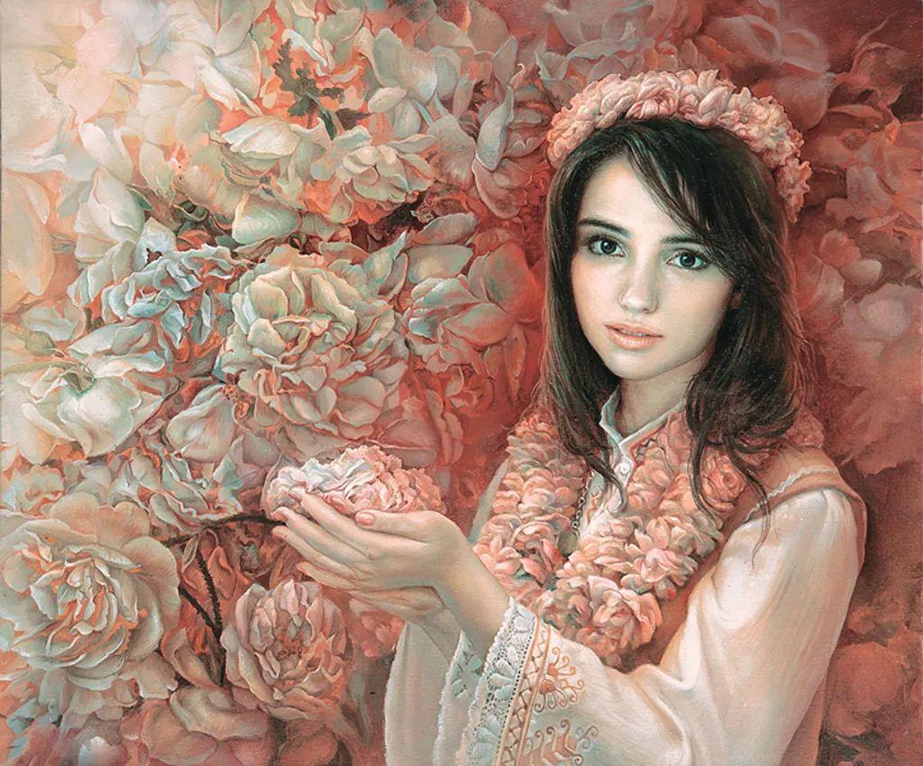 美丽多彩的女性肖像和精美的花朵插图3