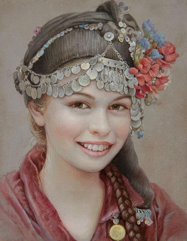 美丽多彩的女性肖像和精美的花朵插图5
