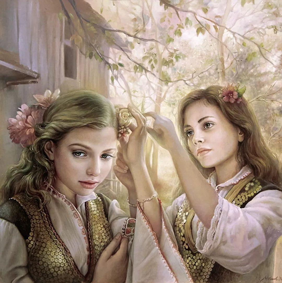 美丽多彩的女性肖像和精美的花朵插图15