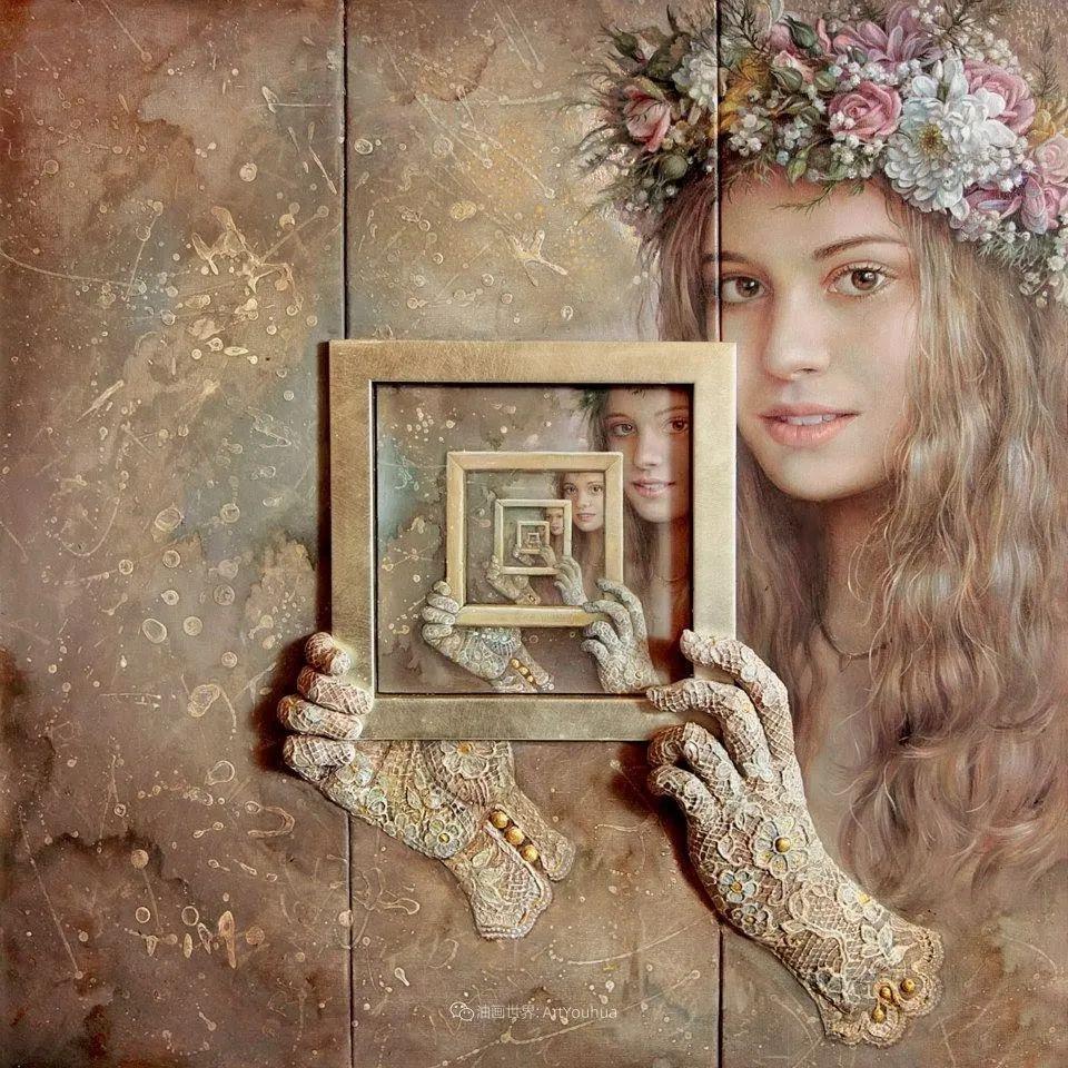 美丽多彩的女性肖像和精美的花朵插图17