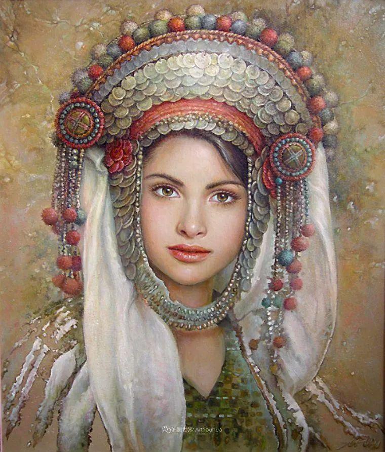 美丽多彩的女性肖像和精美的花朵插图19