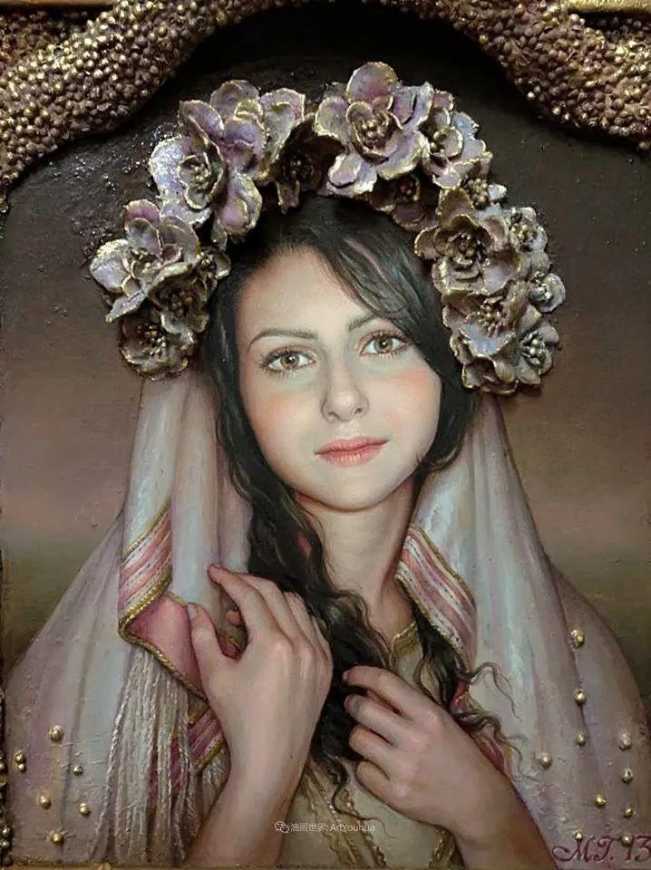 美丽多彩的女性肖像和精美的花朵插图21