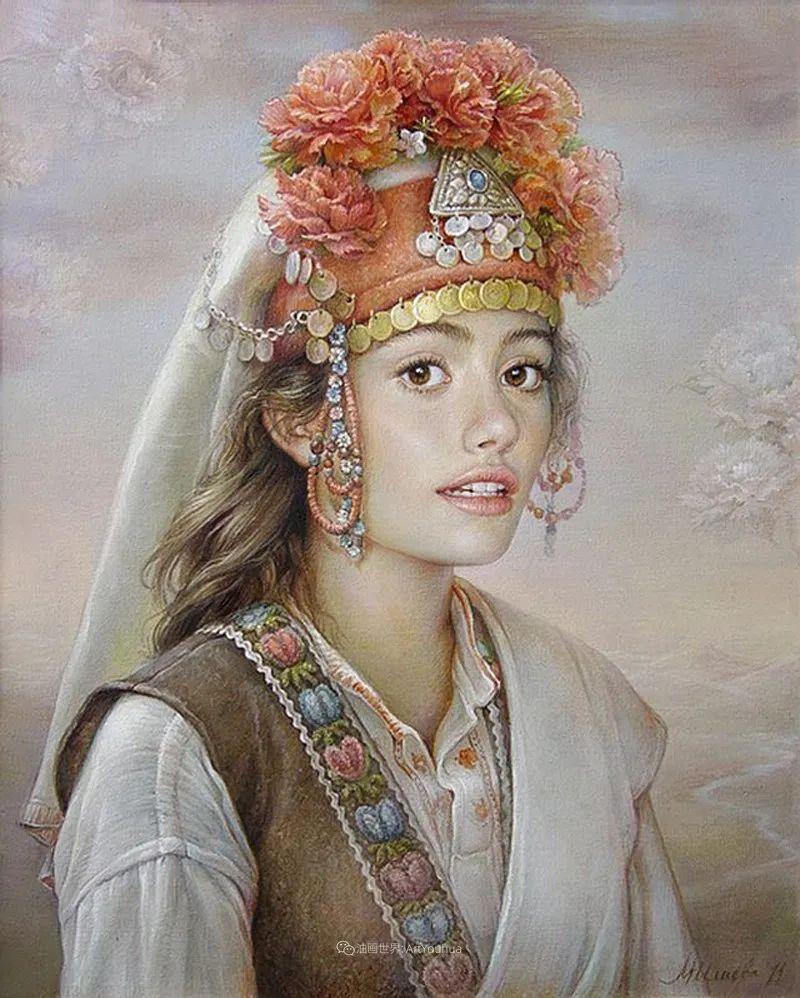 美丽多彩的女性肖像和精美的花朵插图25