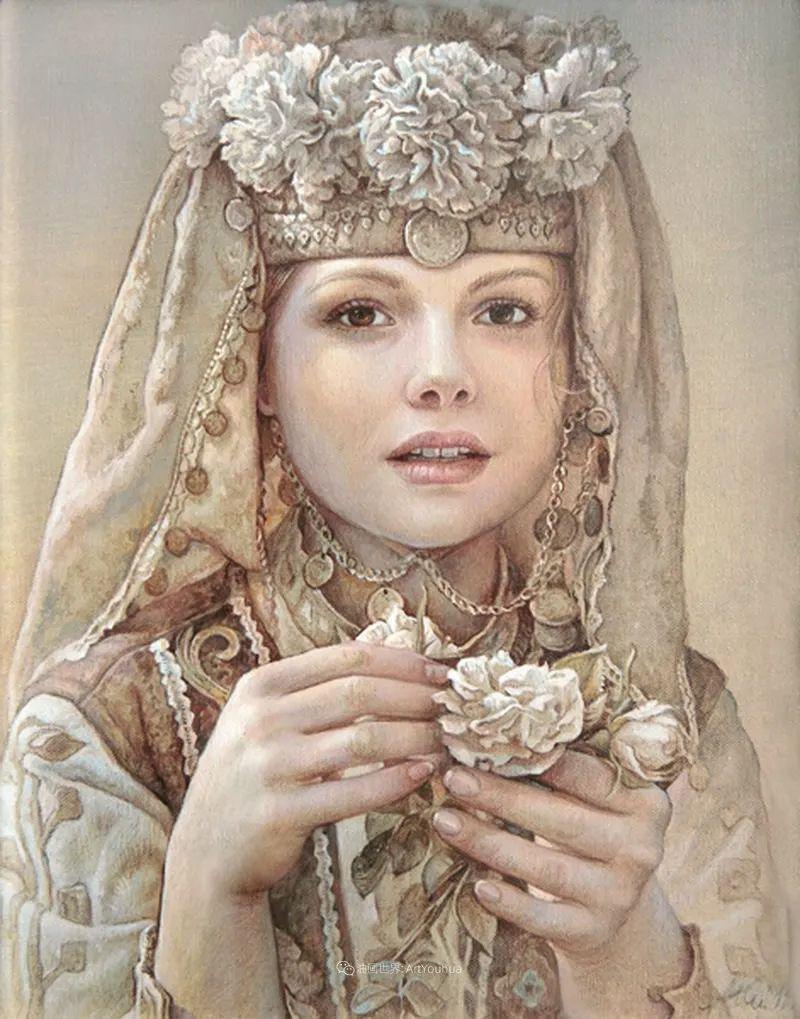 美丽多彩的女性肖像和精美的花朵插图27