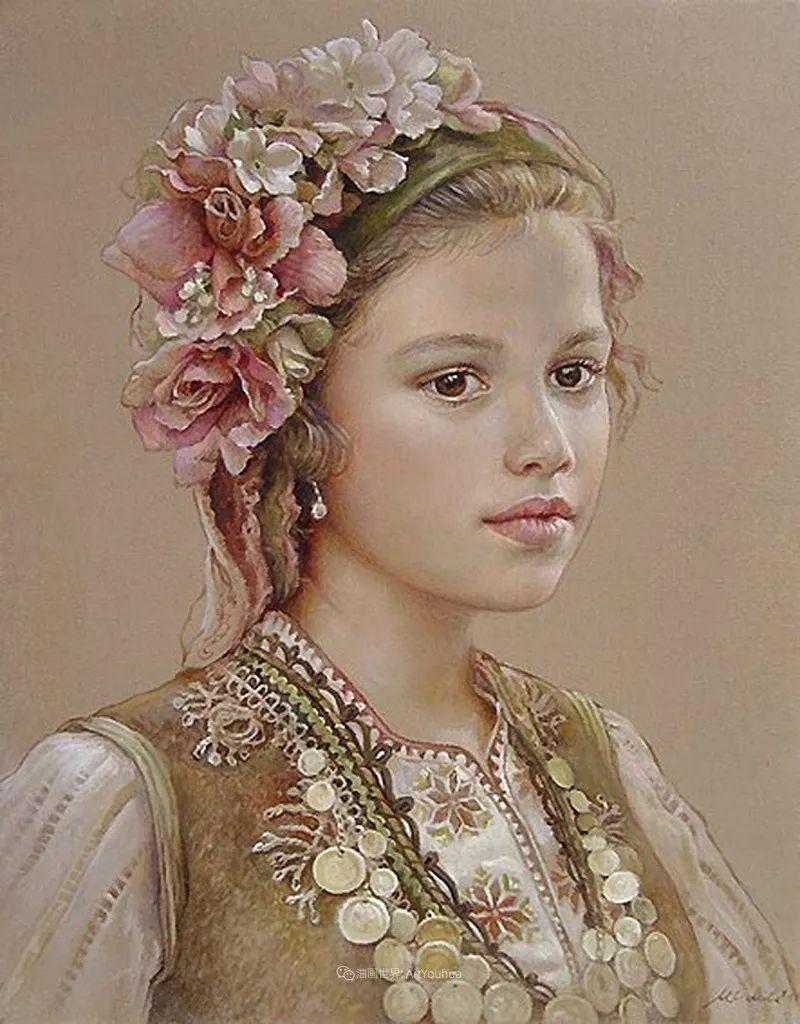 美丽多彩的女性肖像和精美的花朵插图29