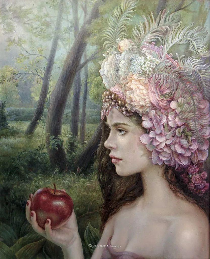 美丽多彩的女性肖像和精美的花朵插图31