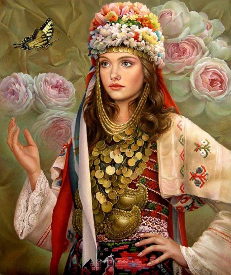 美丽多彩的女性肖像和精美的花朵插图35