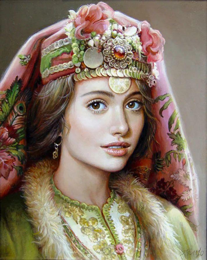 美丽多彩的女性肖像和精美的花朵插图37