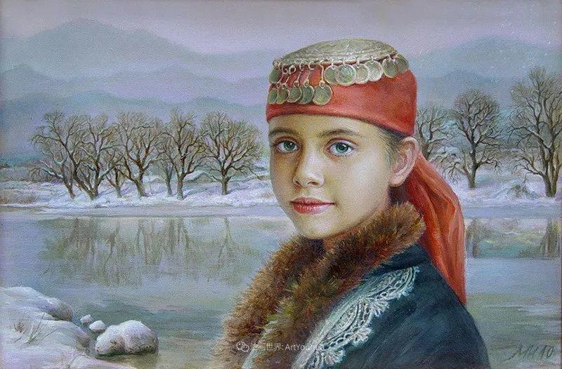 美丽多彩的女性肖像和精美的花朵插图39