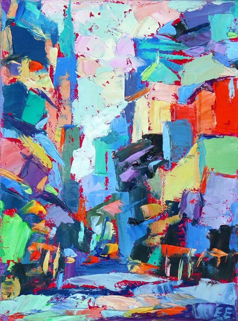 色彩缤纷,大笔触的风景与建筑,充满活力!插图61