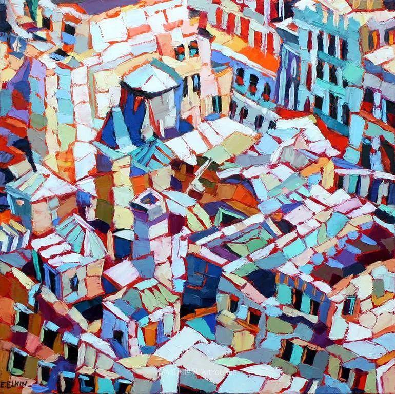 色彩缤纷,大笔触的风景与建筑,充满活力!插图139