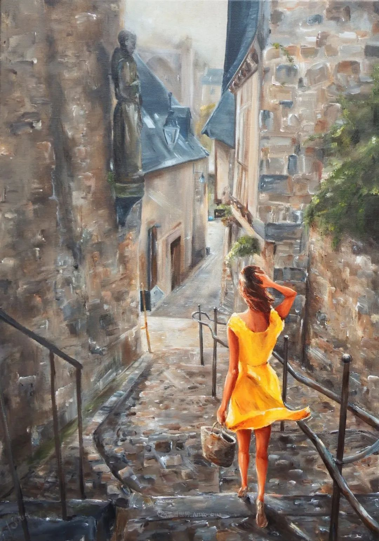 穿黄裙的女人,无忧无虑,轻盈美丽!插图