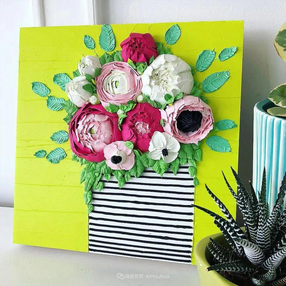 她让油画颜料像奶油,绘出厚重富有立体感的花卉,惊艳!插图1