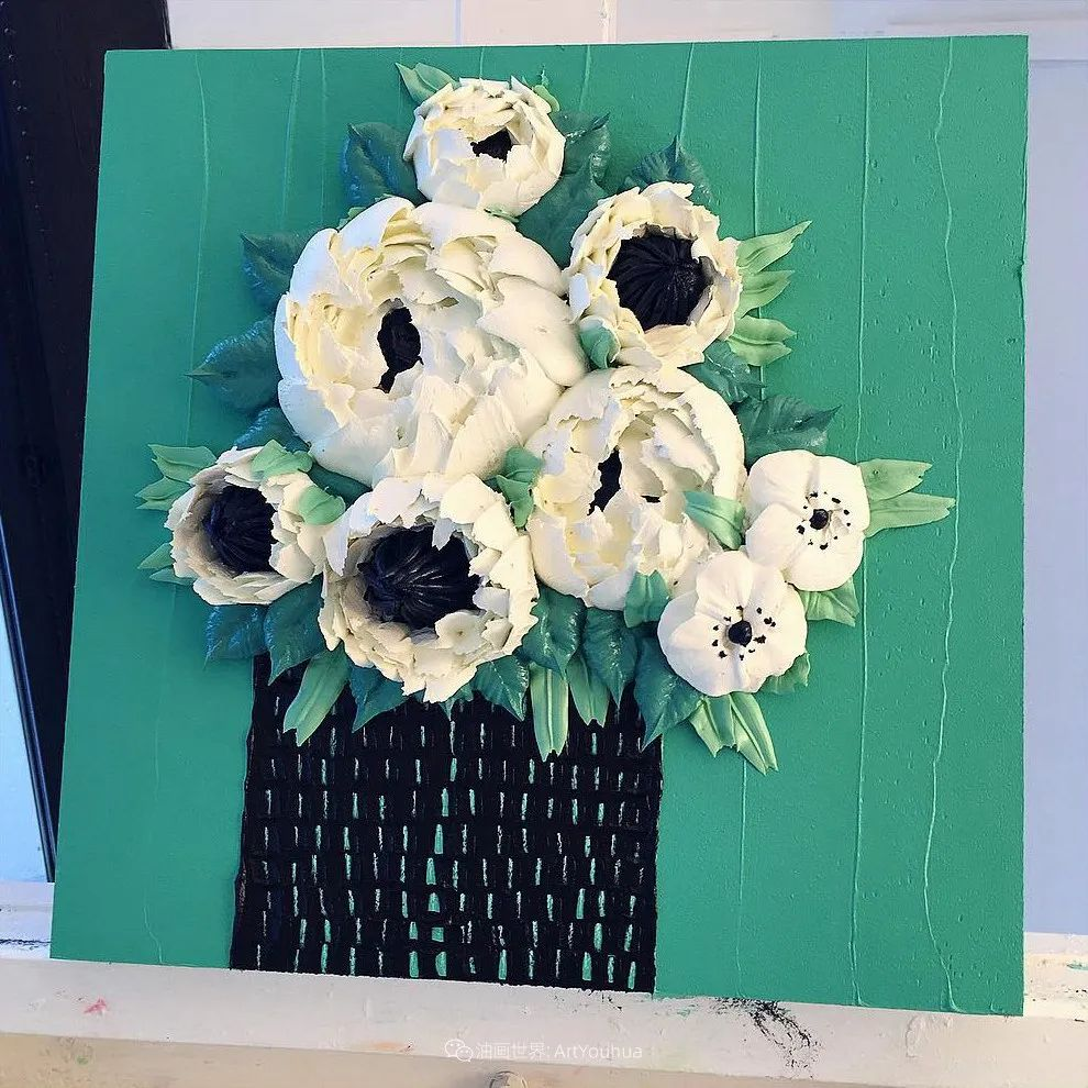 她让油画颜料像奶油,绘出厚重富有立体感的花卉,惊艳!插图3