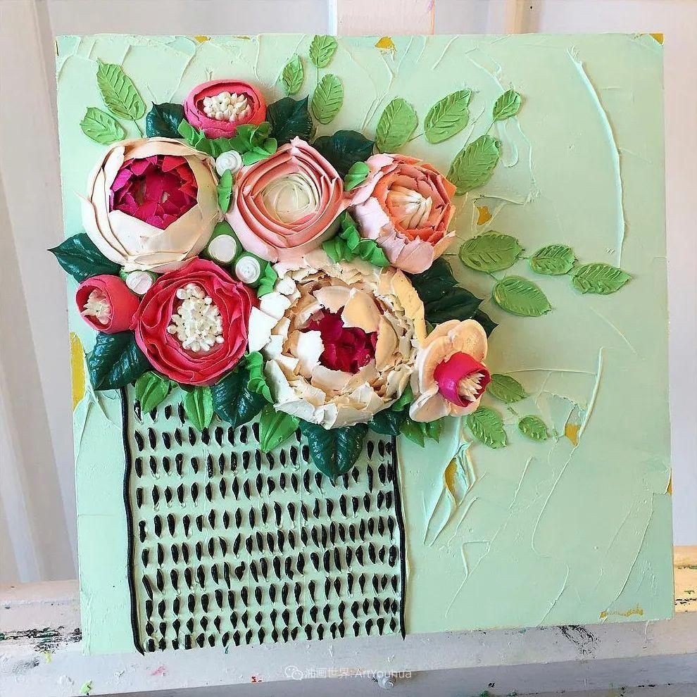 她让油画颜料像奶油,绘出厚重富有立体感的花卉,惊艳!插图5