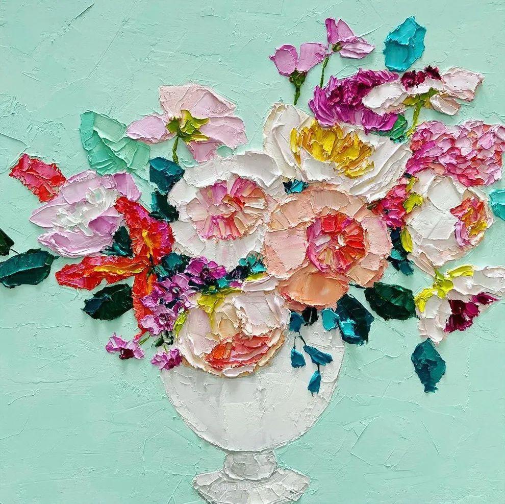 她让油画颜料像奶油,绘出厚重富有立体感的花卉,惊艳!插图79