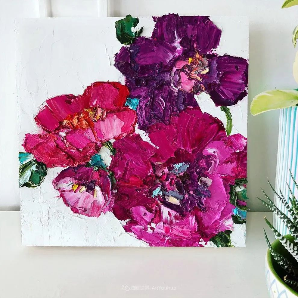 她让油画颜料像奶油,绘出厚重富有立体感的花卉,惊艳!插图83