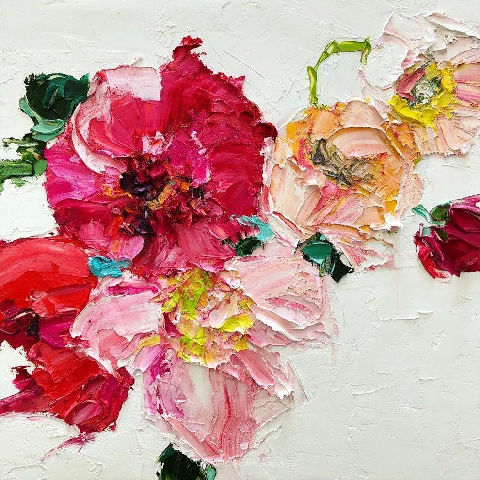她让油画颜料像奶油,绘出厚重富有立体感的花卉,惊艳!插图89