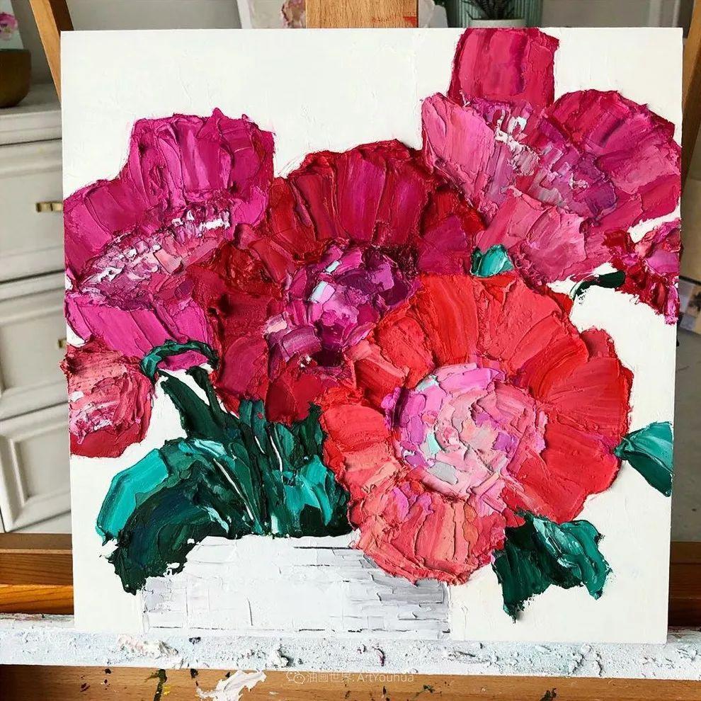 她让油画颜料像奶油,绘出厚重富有立体感的花卉,惊艳!插图109