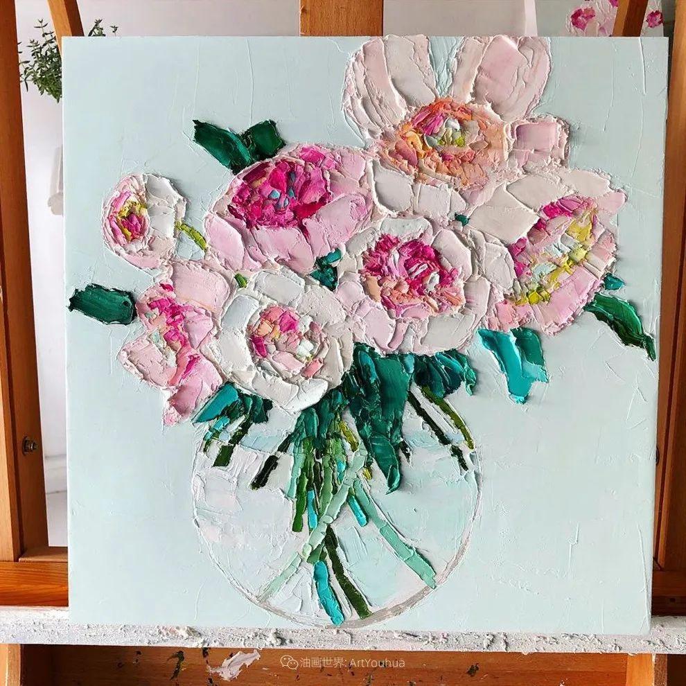 她让油画颜料像奶油,绘出厚重富有立体感的花卉,惊艳!插图115