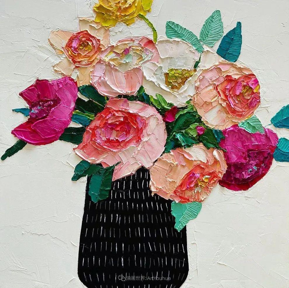 她让油画颜料像奶油,绘出厚重富有立体感的花卉,惊艳!插图119