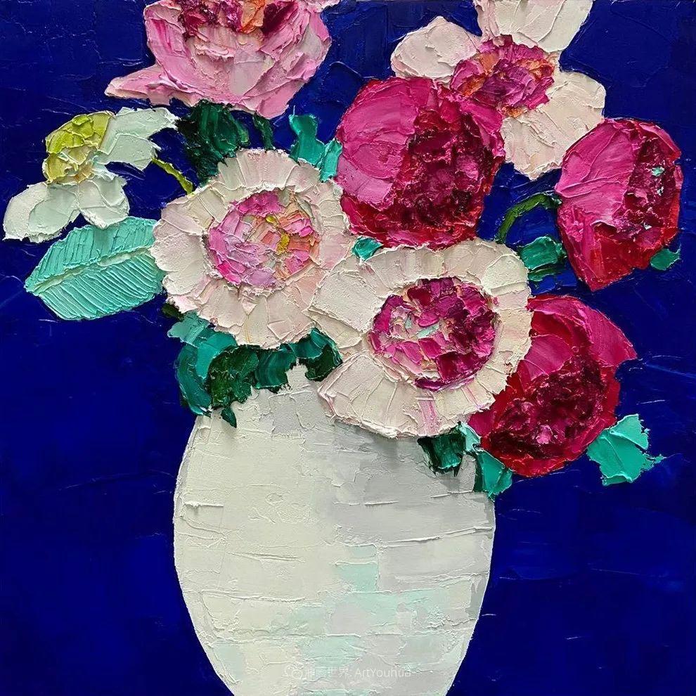 她让油画颜料像奶油,绘出厚重富有立体感的花卉,惊艳!插图121
