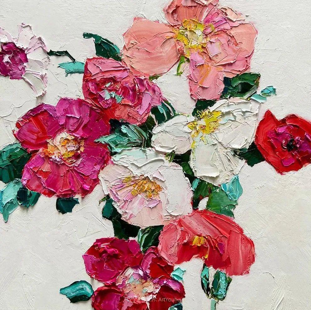 她让油画颜料像奶油,绘出厚重富有立体感的花卉,惊艳!插图123