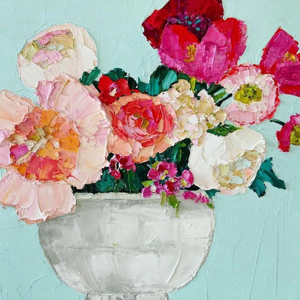 她让油画颜料像奶油,绘出厚重富有立体感的花卉,惊艳!插图125