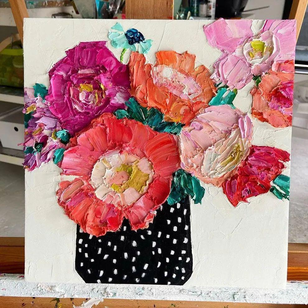 她让油画颜料像奶油,绘出厚重富有立体感的花卉,惊艳!插图129