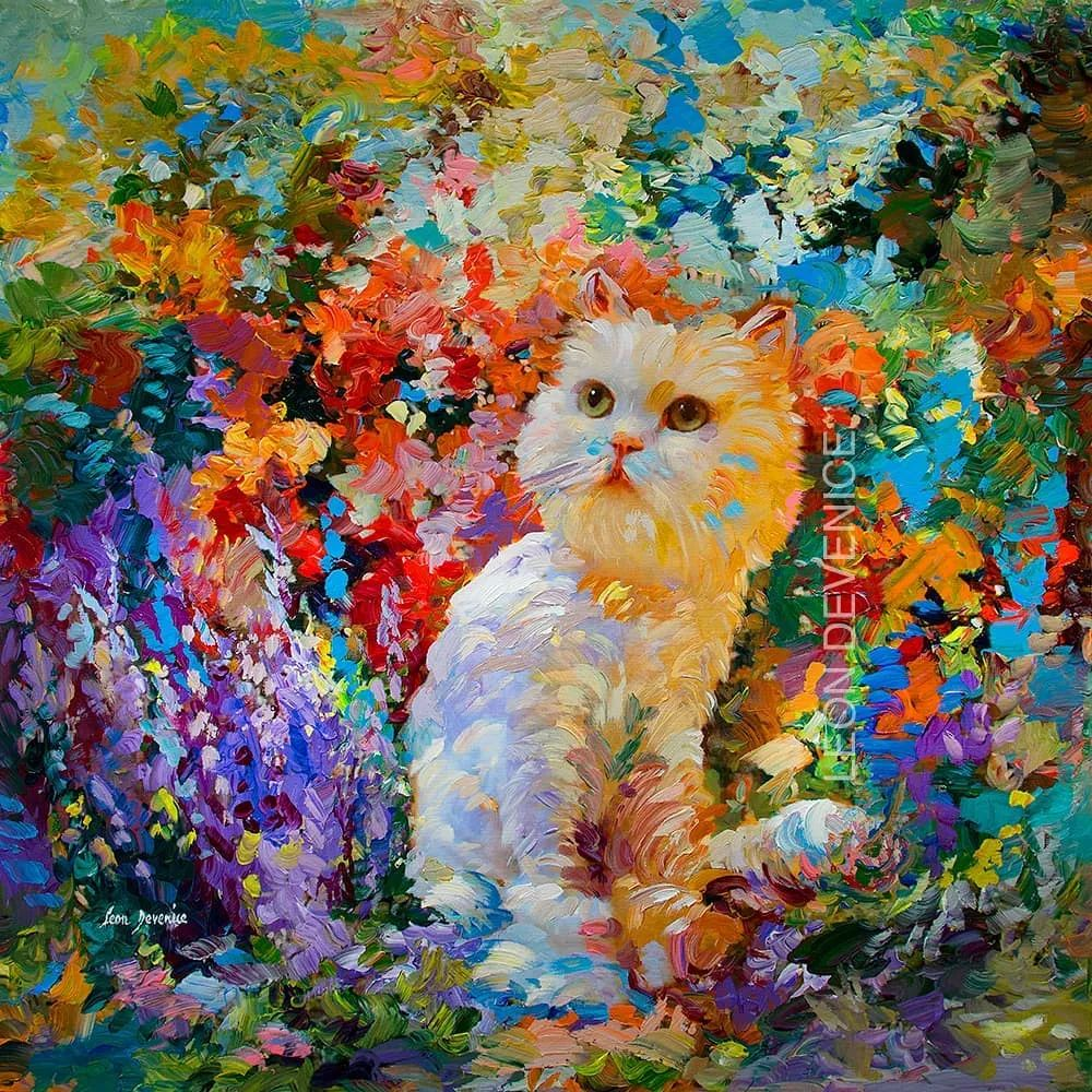 艳丽多彩的人物、动物和静物,利昂·德文尼采作品三插图1