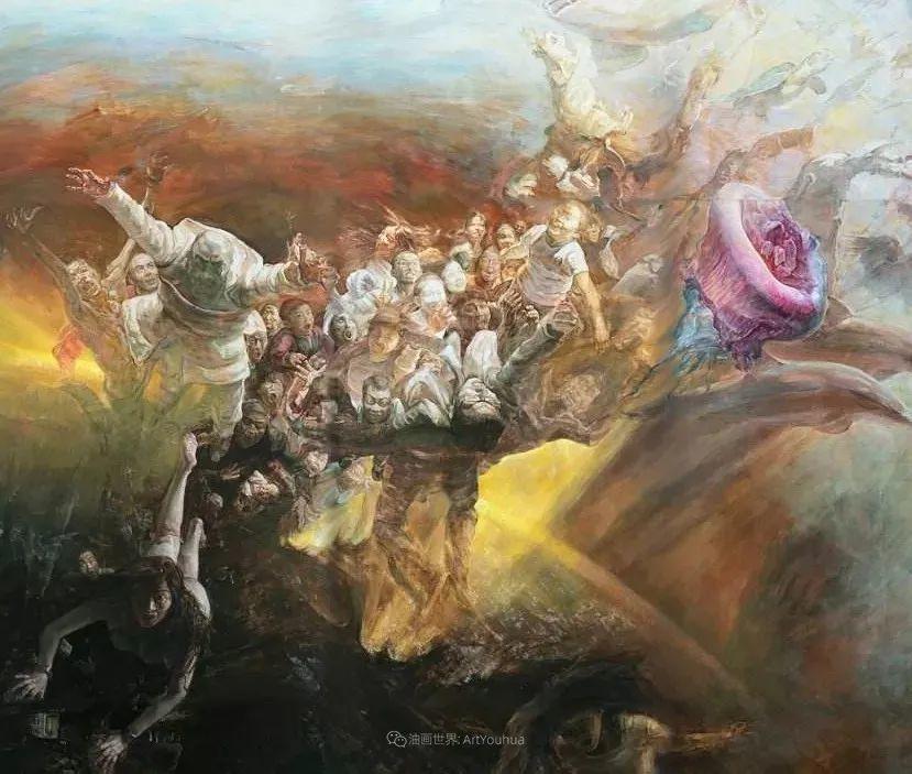 巨幅油画《苍穹之眼》创作过程,看完视频只有两个字:震撼!插图9