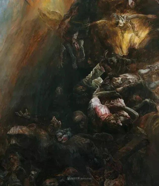 巨幅油画《苍穹之眼》创作过程,看完视频只有两个字:震撼!插图13