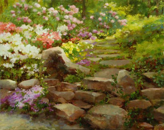 对花卉和花园的独特诠释,美国女画家凯西·安德森插图