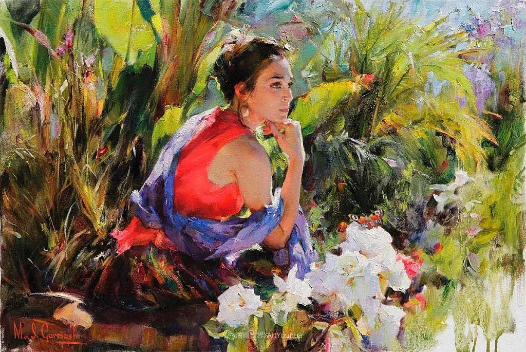 甜蜜的爱和彼此热爱的绘画,优秀浪漫的印象派伉俪画家插图39
