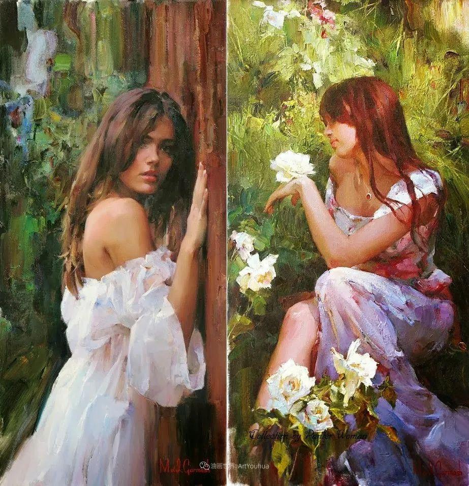 甜蜜的爱和彼此热爱的绘画,优秀浪漫的印象派伉俪画家插图61