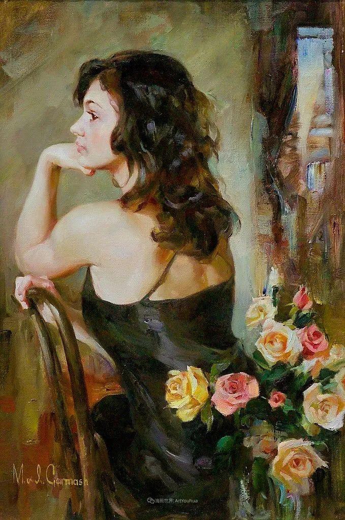 甜蜜的爱和彼此热爱的绘画,优秀浪漫的印象派伉俪画家插图81