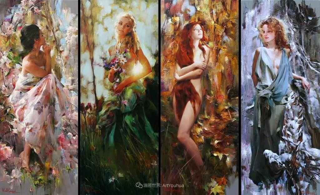 甜蜜的爱和彼此热爱的绘画,优秀浪漫的印象派伉俪画家插图83