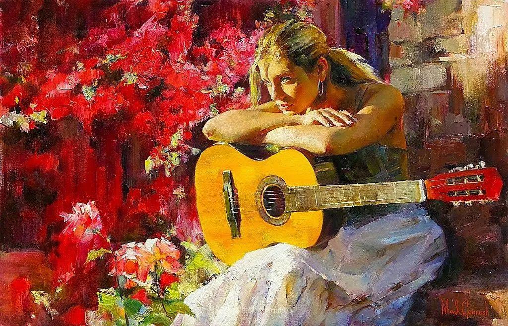 甜蜜的爱和彼此热爱的绘画,优秀浪漫的印象派伉俪画家插图115