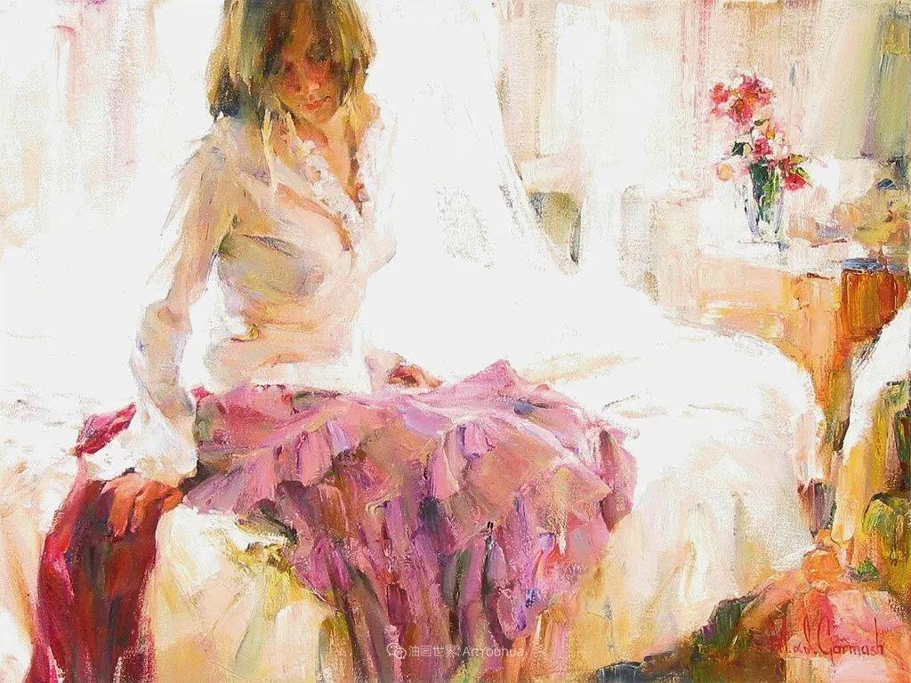 甜蜜的爱和彼此热爱的绘画,优秀浪漫的印象派伉俪画家插图127