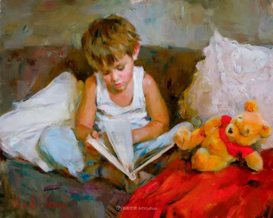 甜蜜的爱和彼此热爱的绘画,优秀浪漫的印象派伉俪画家插图155