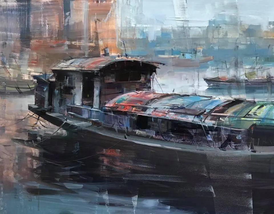 美国写生实力派画家,布莱恩·泰勒船只油画插图