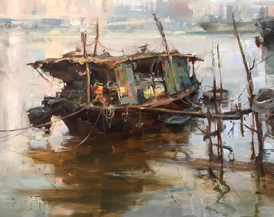 美国写生实力派画家,布莱恩·泰勒船只油画插图2