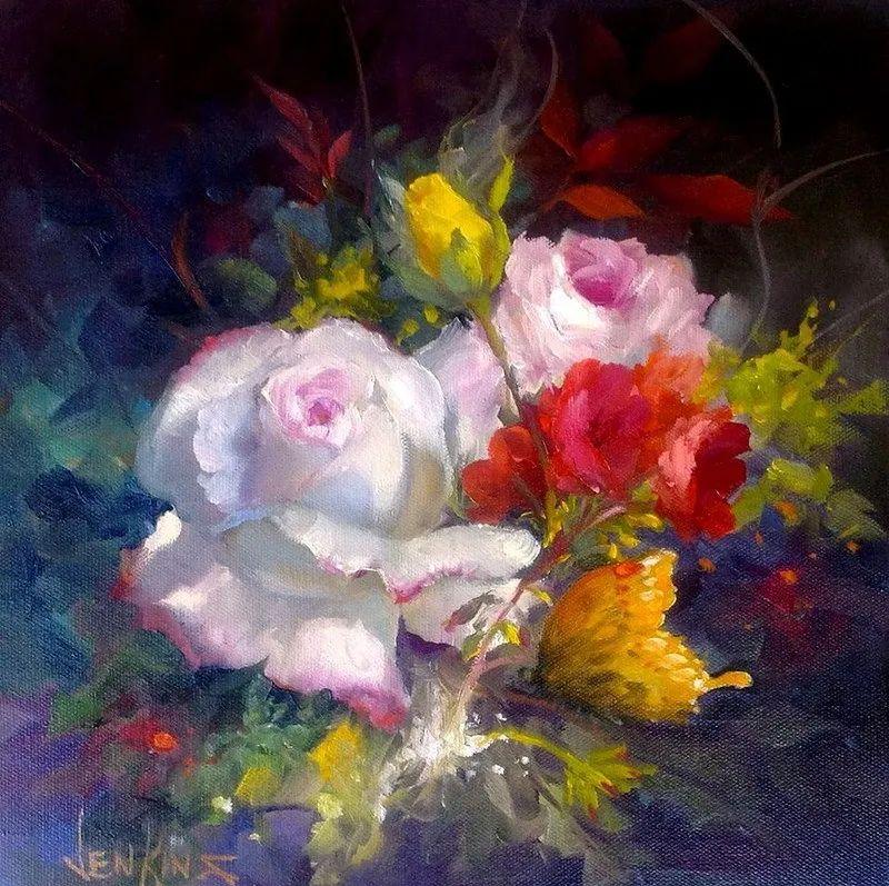 这对老夫妇教授绘画40多年,画的花也太漂亮了!插图