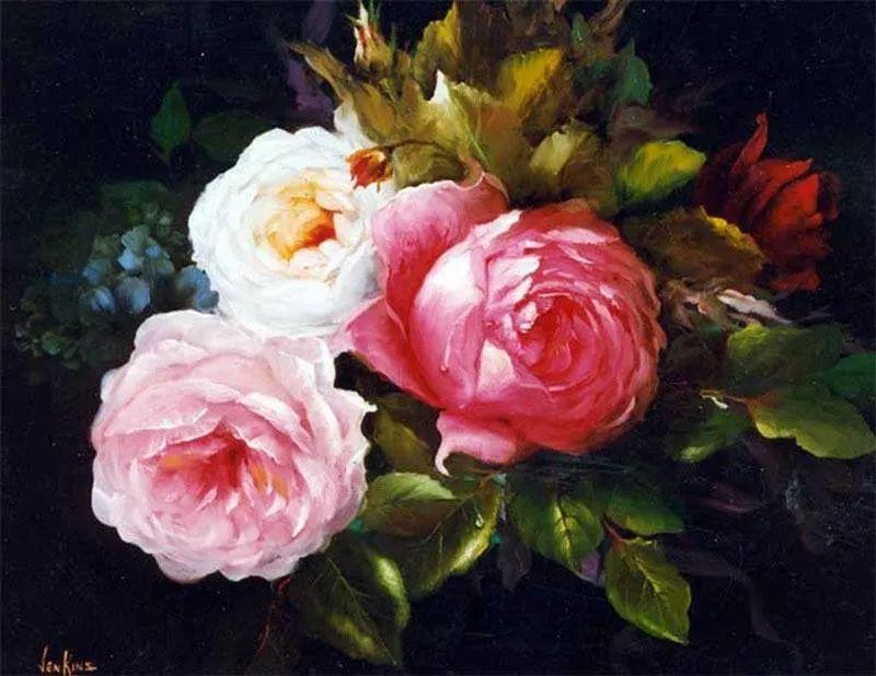 这对老夫妇教授绘画40多年,画的花也太漂亮了!插图26