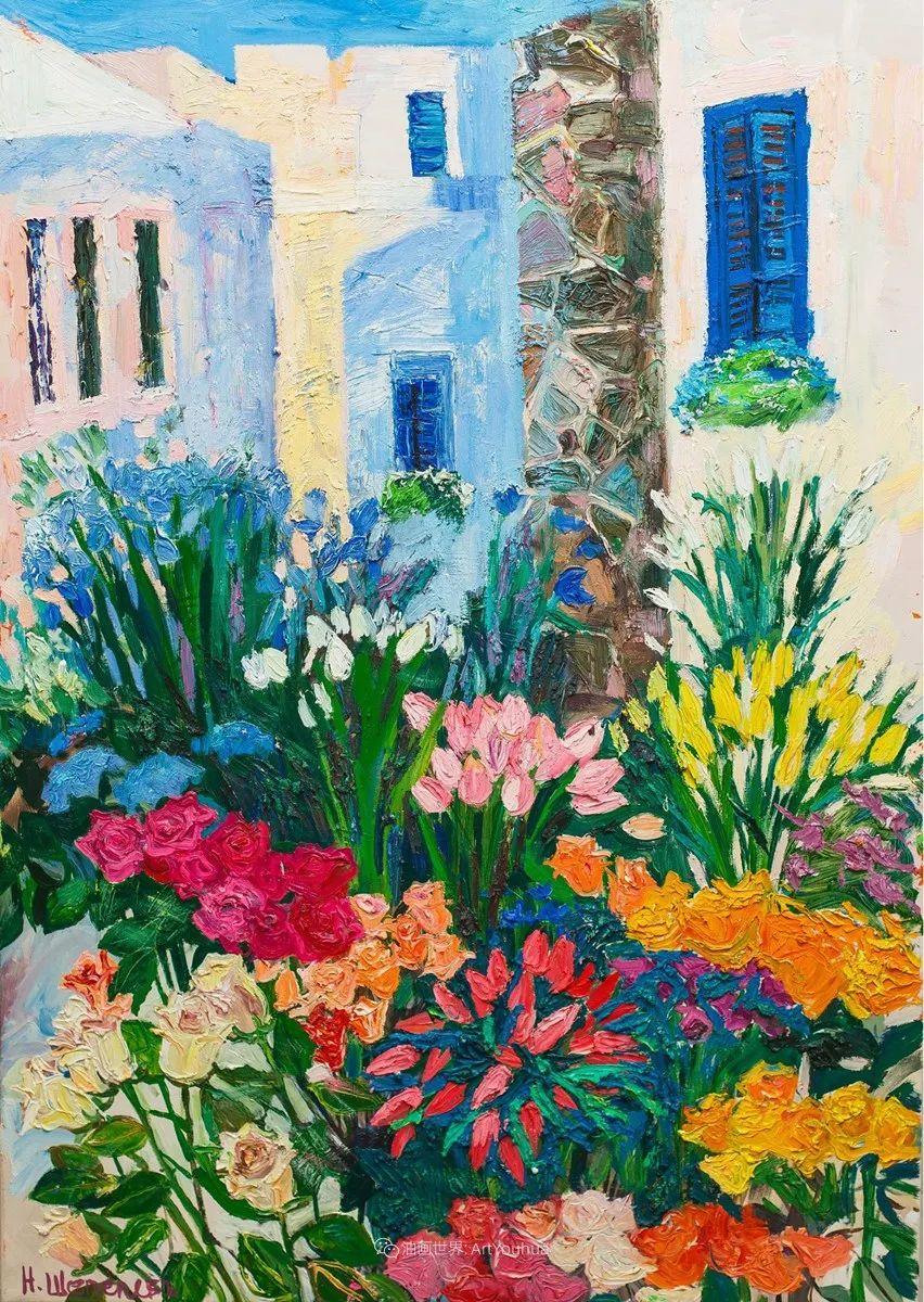 俄罗斯女画家,大笔触风景与花卉,美轮美奂!插图111