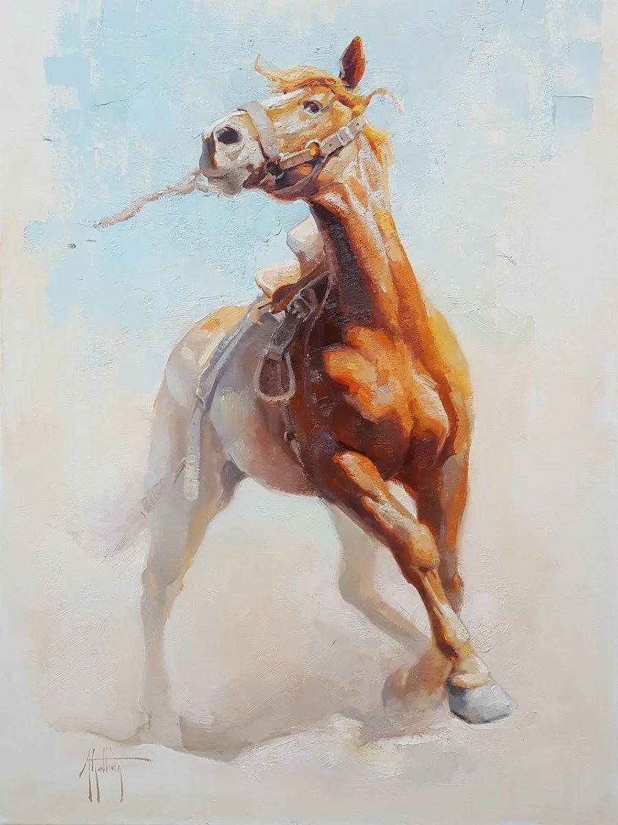 90后美女画家,画马水平堪称一绝,阿比盖尔·古廷作品(上)插图1