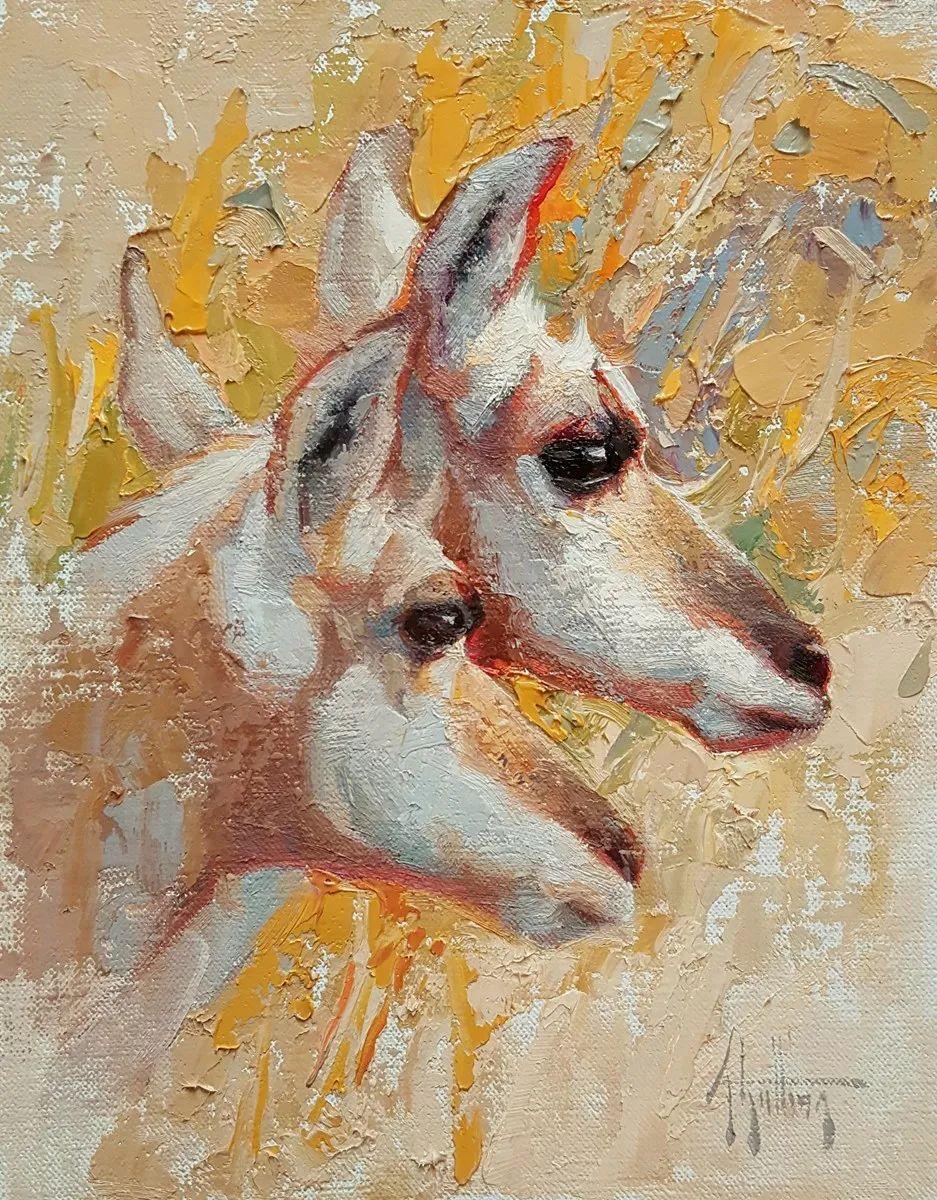 羚羊与耗牛,美国女画家阿比盖尔·古廷作品(下)插图1